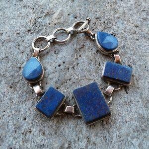 Sterling silver Lapis Lazuli toggle bracelet
